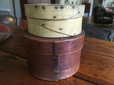 Antique early orig- painted finger lapped pantry boxes  AAFA