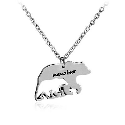 Mothers Day Gift Animal Mama Bear Pendant Necklace Popular Jewelry Unique Gift