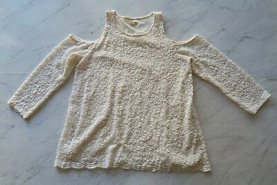 Hollister Co Womens LS Cold Shoulder Lace Overlay Top Cream Large EUC