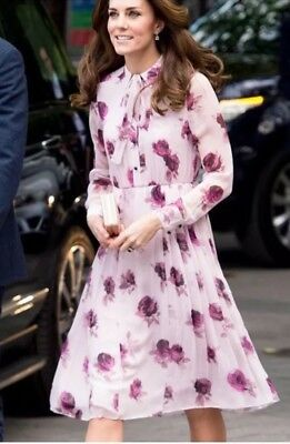 Kate Spade Encore Rose Tie Neck Dress As Seen On Kate Middleton pleat midi 4