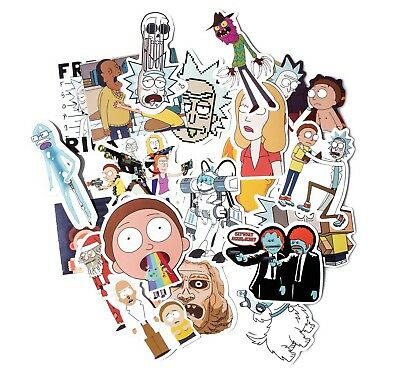 35pcs Rick And Morty Car Sticker Adult Cartoon Vinly Decals Macbook Window