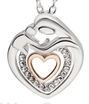 NWT necklace mother - child silver - gold tone birth Mothers day gift