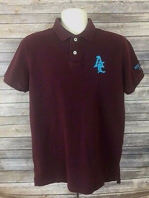 Mens American Eagle Outfitters Athletic Fit Polo Size Medium Maroon Casual Wear
