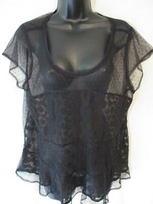American Eagle Outfitters Nylon Size XL Black Floral Sheer Lace SHort Sleeve Top