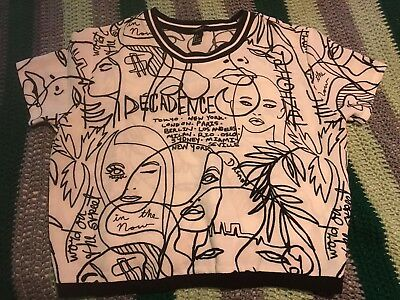 White Graphic Art Forever 21 Crop Top