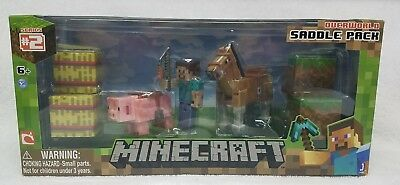 Minecraft Figure Set Overworld Saddle Pack Steve Whip Chestnut Horse Pig Toy Set