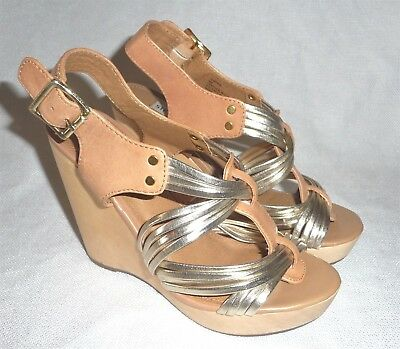 STEVE MADDEN TAMPAA LEATHER WEDGE SHOES SZ 6