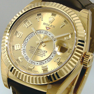 ROLEX 326138 SKY DWELLER YELLOW GOLD CHAMPAGNE DIAL 326138 BROWN LEATHER STRAP