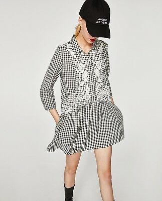 Zara Black and White Check Embroidered Dress Size M BNWT