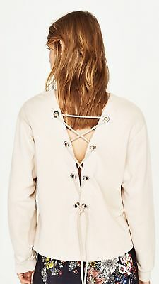 Zara NWT Lace up Back Sweatshirt Top Blouse In Sand Size S