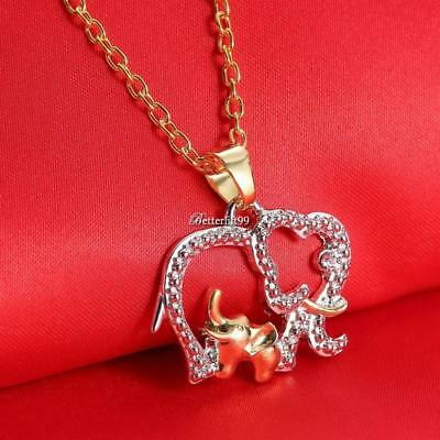 Mothers Day Gift Cute Animal Double Elephant Pendant Necklace Jewelry Cheap BFC