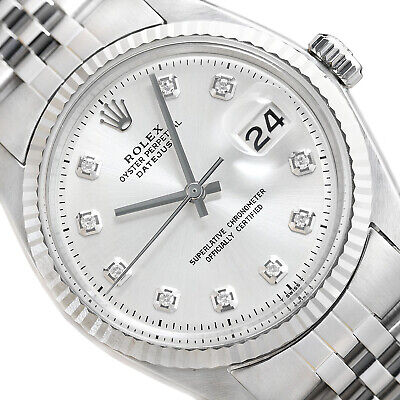 MENS ROLEX DATEJUST 18K WHITE GOLD - STAINLESS STEEL SILVER DIAMOND DIAL WATCH