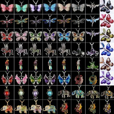 Women Crystal Rhinestone Butterfly Horse Animal Pendant Necklace Chain Jewelry