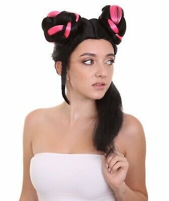 Black and Pink Wig with Buns for Cosplay Eurovision 2018 Netta Barzilai HW-2783
