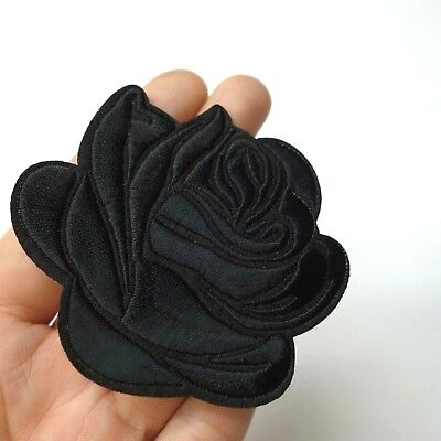 Black Rose Iron-OnSew-On Embroidered Patch Applique Motif - Goth Punk Alt Emo