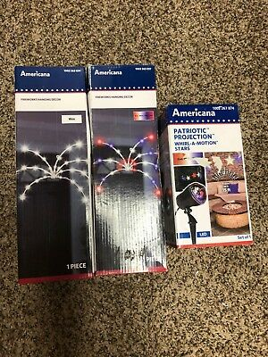 Americana Fourth of July Patriotic Decor and Projector Set QUICK SHIPPING