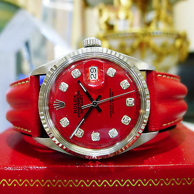 Mens Vintage ROLEX Oyster Perpetual Datejust Steel - Gold Red Diamond Dial Watch