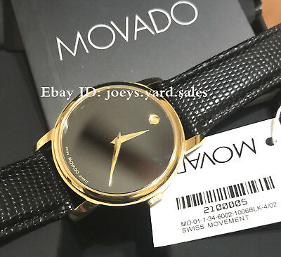 BOX SET MOVADO Museum 2100005 Gold Classic Black Dial Leather Wrist Mens Watch