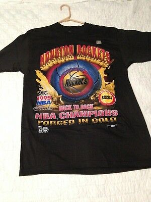 NBA Houston Rockets Vintage Championship T Shirt M 1995 Magic Johnston Ts