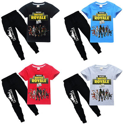 New Kids Boys Fortnite Battle Royale T-Shirts Tops-Pants A Suits 6-14 Years D