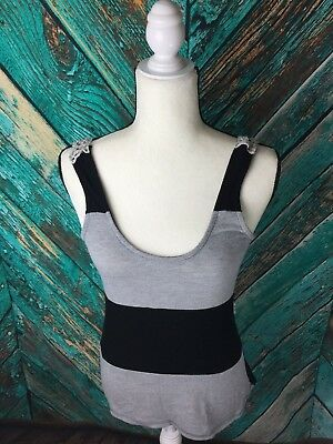 Wet Seal Womens Top Lace Back Size S GrayBlack