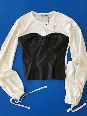 NWT ZARA TRAFALUC Faux Leather Bodice Shirt S- Spring Summer 2017- Long Sleeve