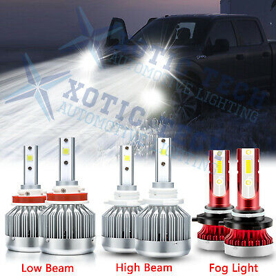 For Ford F-150 2015-2019 LED Front Headlight High Low Beam-Fog Light Bulbs Combo