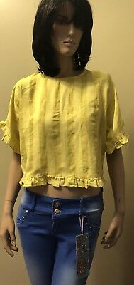 Zara Woman Collection Yellow Short Sleeve Top Size XS