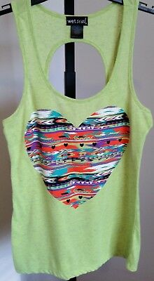 Wet Seal Lime Green Sleeveless Top with Front Heart - Open Back - Size