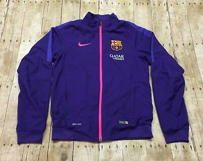 FC Barcelona Nike Jacket Warm Up Training Soccer Football SMALL Dri Fit Purple