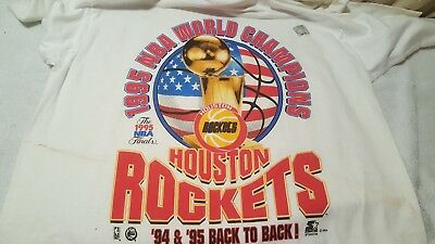 Vtg Starter Houston Rockets 1995 Championship Back-2-Back T-Shirt Large w hat