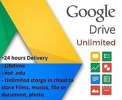 Unlimited Google Drive Cloud Storage Account Lifetime Single Payment