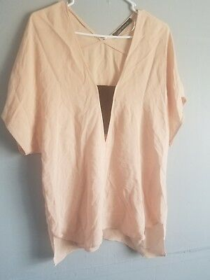 Womens Peach ZARA BASIC MEDIUM Sleeve Tunic Top Size L
