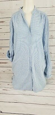 Zara Trafaluc Collection Women's Blue - White Striped Blouse Tunic Large A9B