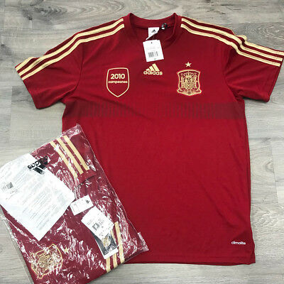 Adidas Clima-Lite Spain Soccer World Cup 2014 Football Red Home Shirt 50 MSRP