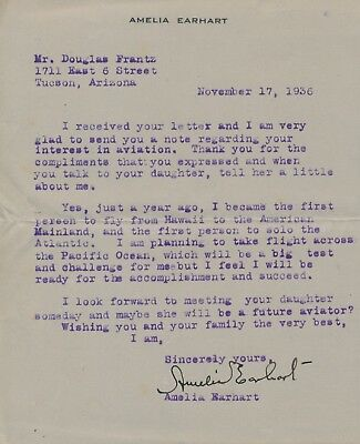 AMELIA EARHART SIGNED ON HER PERSONAL CORRESPONDENCE NOV 171936 WLM6460