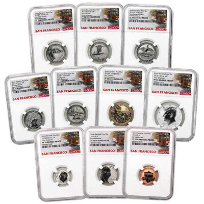 2018-S U-S- Silver Reverse Proof Set 10pc- NGC PF70 First Releases Trolley Label
