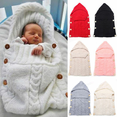 Newborn Baby Infant Cable Knit Blanket Swaddle Wrap Swaddling Sleeping Bag Warm