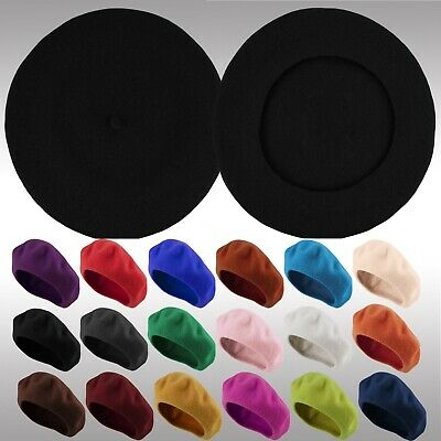 Classic Traditional Womens Mens Solid Color Plain Wool French Beret One Size