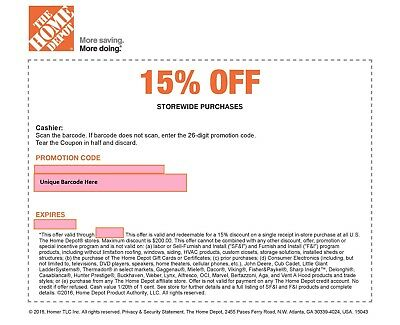 ONE 1x Home Depot 15 Off-1coupon- In Store Only -saving 200 max