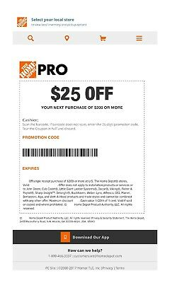 One 1x Home Depot 25 off 200Coupon In-Store Only
