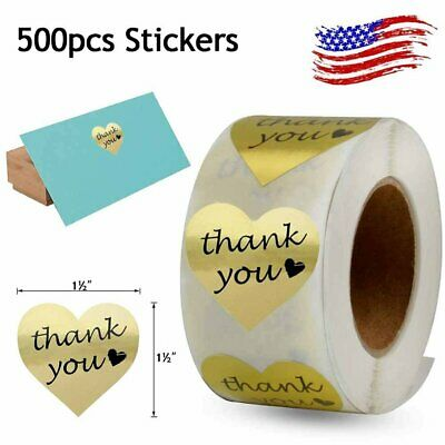 500Roll Thank You Stickers Gold Foil Heart Shape Decorative Sealing Labels