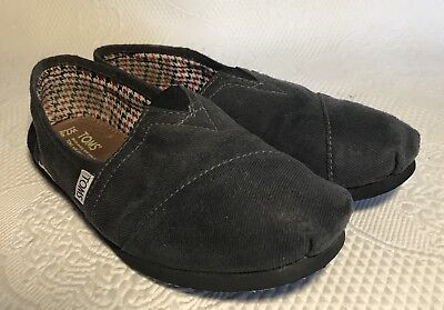 TOMS Movember Charcoal GrayBlack Canvas Flat Slip-On Shoes Women's 7-5