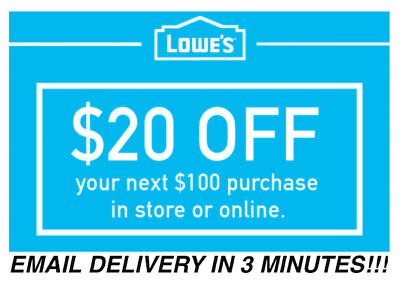 THREE 3x Lowes 20 OFF 100 Coupons Discount - In storeonline - Fast Shipment
