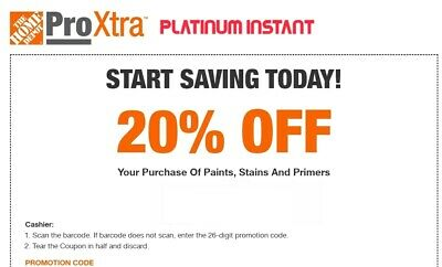 Home Depot 20 Off Paint Stains - Primers 1COUPON-Fast Delivery-InStore