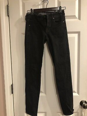 Womens American Eagle Outfitters Black Jeans Size 2 Long