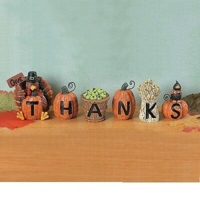 Thanksgiving Holiday Fall Give Thanks Center Kitchen Table Decoration Blocks