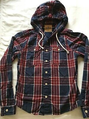 Gently Worn Hollister Co-Navy - Red Plaid Hooded Button Front Shirt Size Large