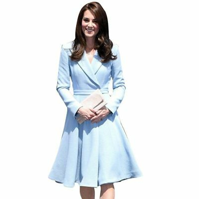 New Kate Middleton Dress Fashion Notched Long Sleeve Elegant High Quality ZG8