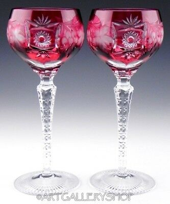 Ajka Crystal CRANBERRY RED Cut to Clear MARSALA 8-14 WINE HOCK GOBLETS Set 2PC